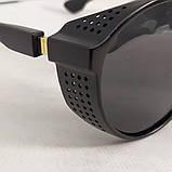 Стильні чоловічі поляризовані окуляри круглі з шорами в пластиковій оправі, фото 6