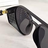 Стильні чоловічі поляризовані окуляри круглі з шорами в пластиковій оправі, фото 4