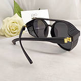 Стильні чоловічі поляризовані окуляри круглі з шорами в пластиковій оправі, фото 10