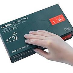 Перчатки виниловые, неопудренные • размер L