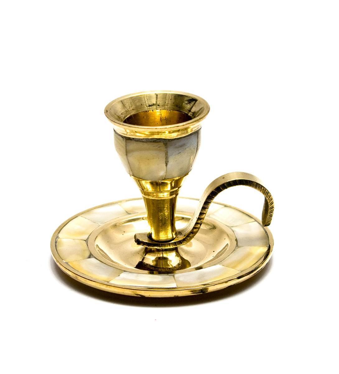 Подсвечник бронзовый с перламутром (5,5х7,5х8 см)