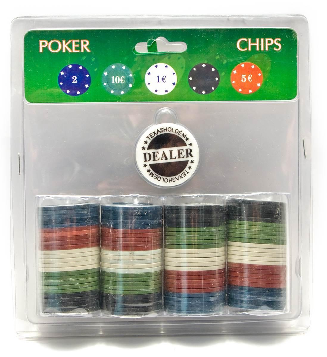 Покерные фишки в блистере (100 фишек)(19х20х4 см)(вес фишки 4 гр. d-39 мм)