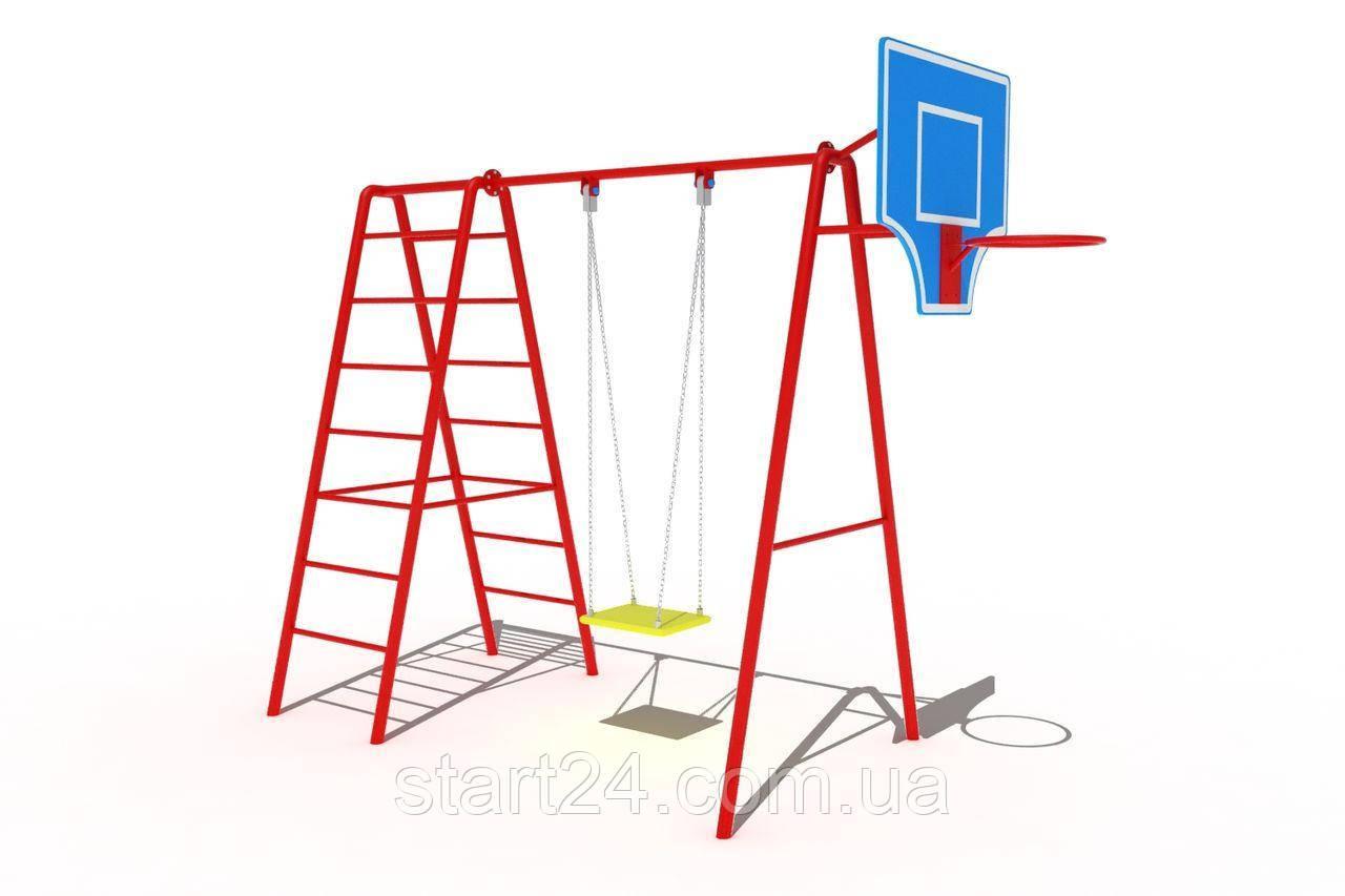 """Качели детские одноместные на цепях с баскетбольным щитом и лестницей """"АКРОБАТ"""""""