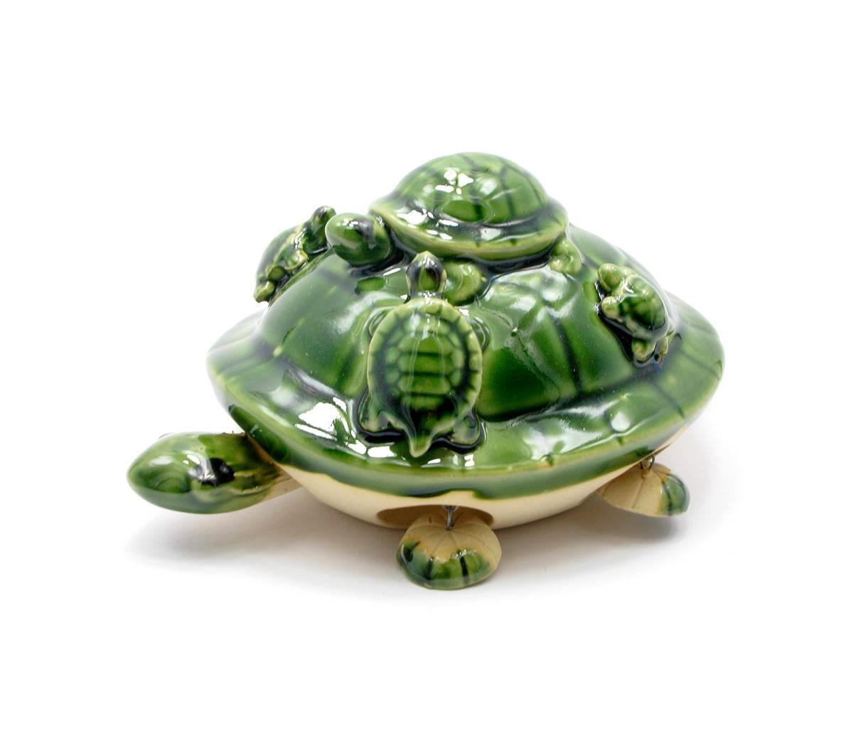 Статуэтка Super Hit Черепашка A керамическая (шевелит лапками) (15,5х10,5х8 см) зеленая