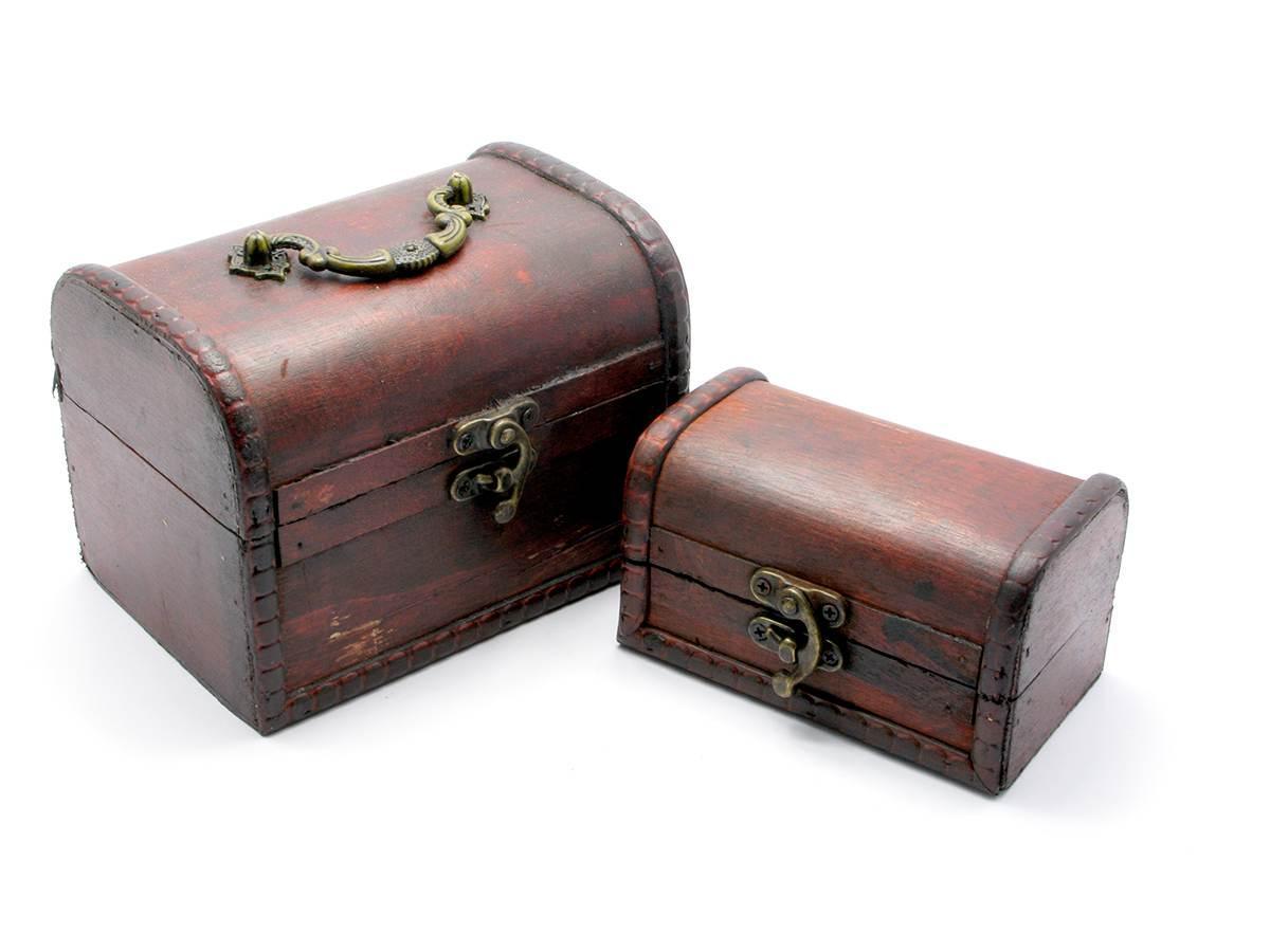 Сундучки деревянные набор 2 шт (15х10,5х11/12х7,5х7 см)