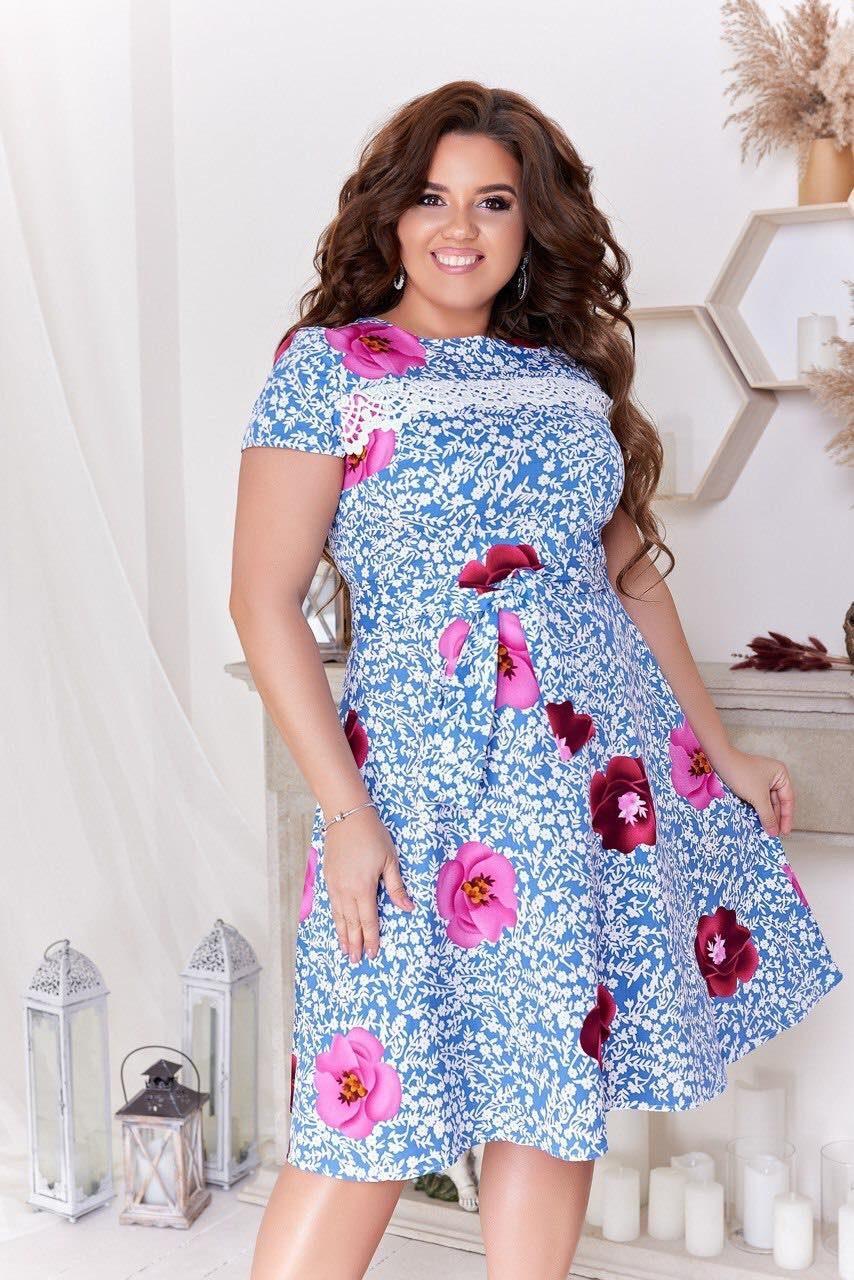 """Стильное женское платье со вставкой кружева ткань """"Стрейч-коттон"""" 48 размер батал"""