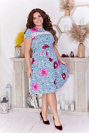 """Стильное женское платье со вставкой кружева ткань """"Стрейч-коттон"""" 48 размер батал, фото 2"""