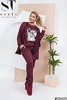 Стильный спортивный костюм тройка, кофта без застежки с длинными рукавами, топ и штаны с лампасами(42-48), фото 1