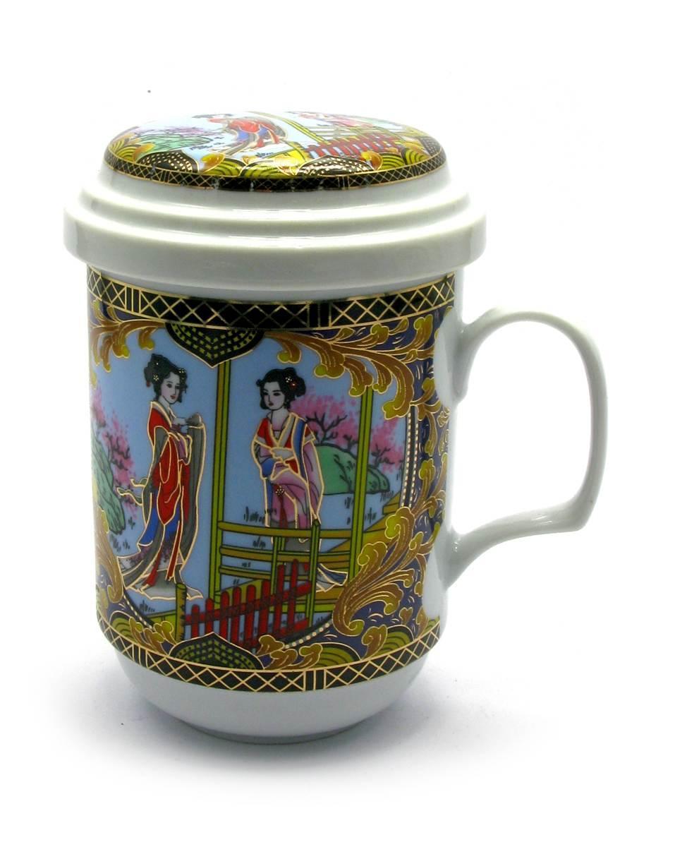 """Чашка заварочная з ситом (330мл.)(BFC112-5) """"Дівчата"""" (h-13см, d-7,5 см)"""