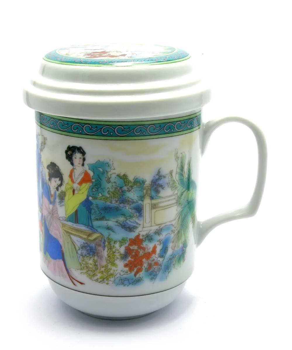 """Чашка заварочная с ситом (330мл.)(BFC1) """"Гейши"""" (h-13cм, d-7,5см)"""