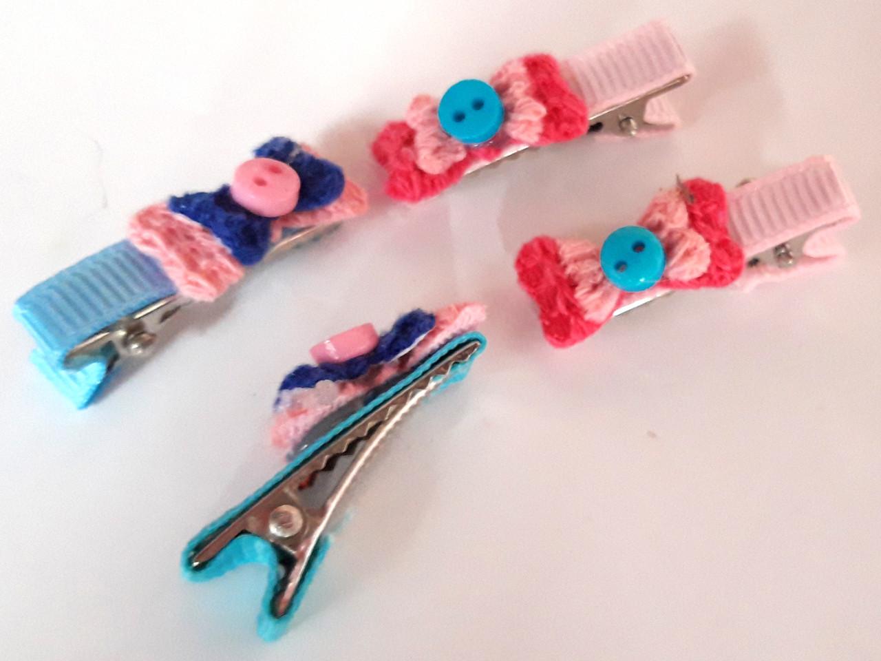 Детские заколки-крокодил 4 шт маленькие 3 см розовые и голубые