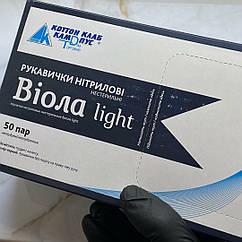 """Перчатки нитриловые """"ВИОЛА Light"""", неопудренные  • размер XL • цвет Чёрный"""
