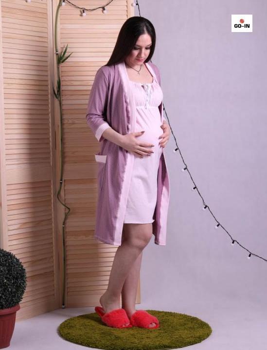 Комплект халат и сорочка для беременных и кормящих мам пудра р.42-54