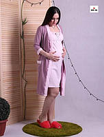 Халат и сорочка для беременных и кормящих мам пудра р.42-54, фото 1