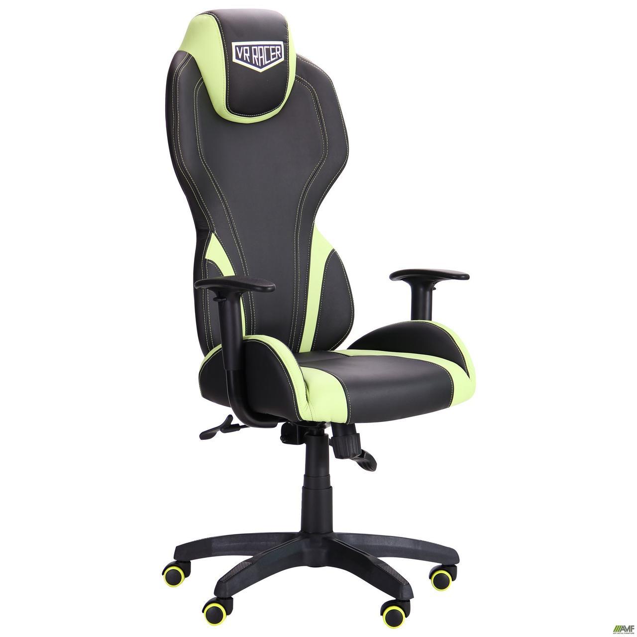 Кресло геймерское AMF VR Racer Zeus чёрное с салатовыми вставками