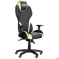 Кресло геймерское AMF VR Racer Zeus чёрное с салатовыми вставками, фото 1
