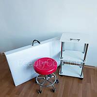 Комплект кушетка косметологическая «Бюджет» + тележка мастера + стул без спинки №1 набор