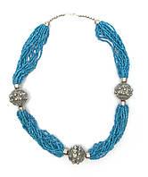 """Ожерелье из биссера и металла """"Синее""""  (35 см)"""