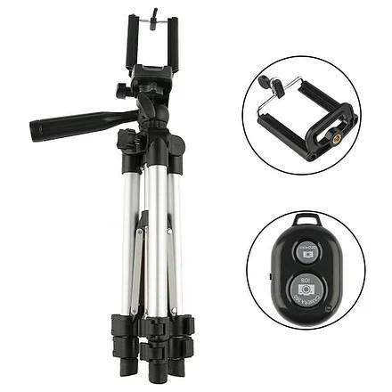 Штатив для смартфона и камеры + беспроводная кнопка 35-105 см, трипод DK-3888 , тренога для смартфона