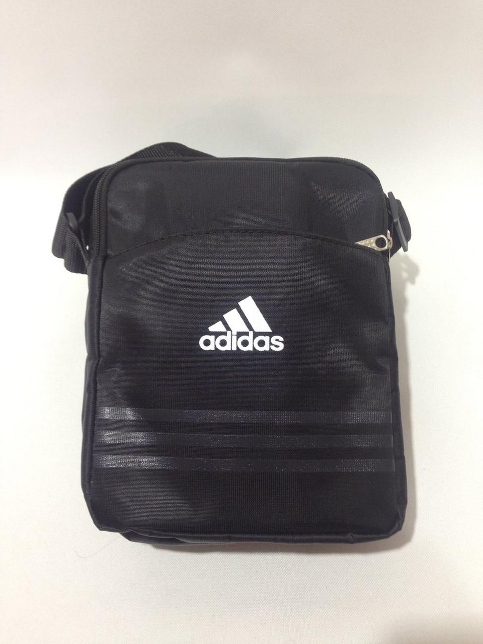 Сумка мужская спортивная через плечо в стиле Adidas / черная