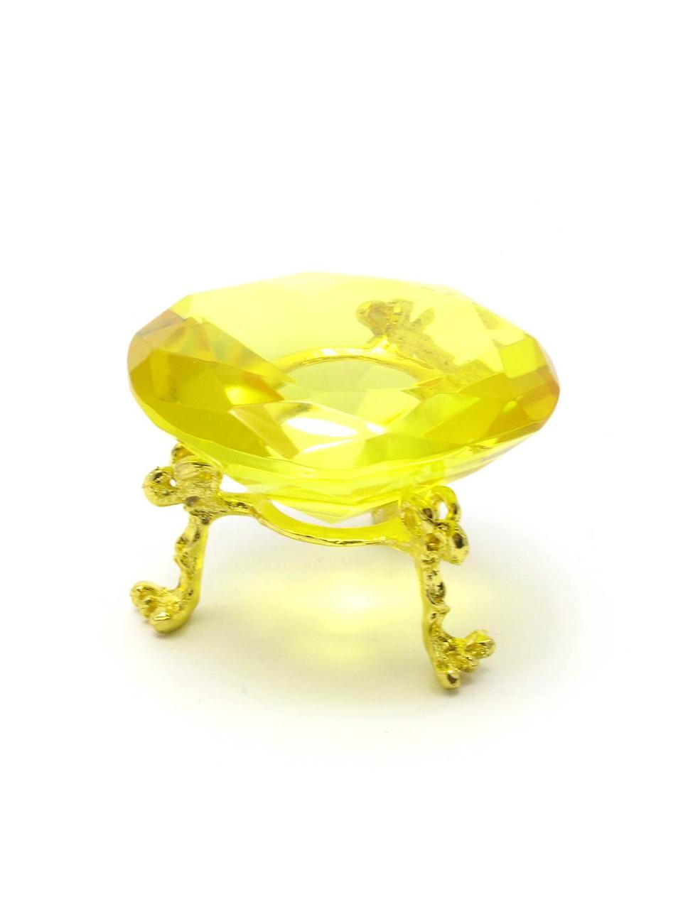 Кристалл хрустальный на подставке желтый (6 см)