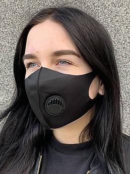 Многоразовая защитная маска питта черная с черным клапаном женская
