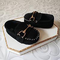 Черные стильные пинетки мокасины, фото 1