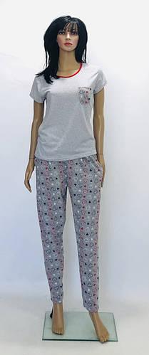 Трикотажный домашний костюм футболка и штаны