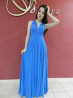 Вечернее длинное шифоновое платье-сарафан с открытой спиной голубое, синее, нарядное, на свадьбу, на выпускной