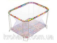 """Детский классический игровой манеж с мелкой сеткой KinderBox """"Животные""""  - игровой центр для детей, фото 3"""