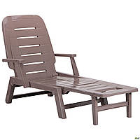 Пластиковый шезлонг AMF Morfeo коричневый-тауп для сада и пляжа