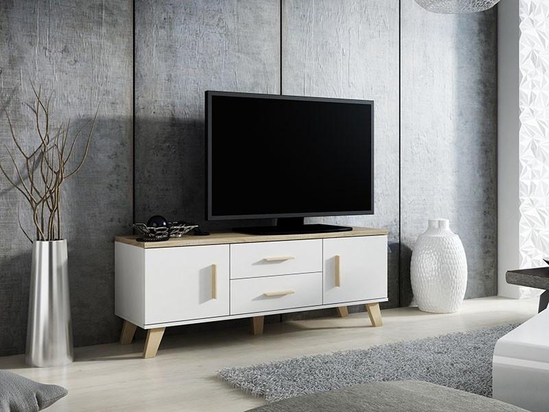 Тумба TV LOTTA 140 (2D2S) білий/дуб сонома (Cama)