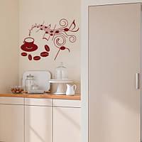 Интерьерная декоративная наклейка на кухню Музыка кофе (самоклейка винил оракал), матовый коричневый 800х570 м