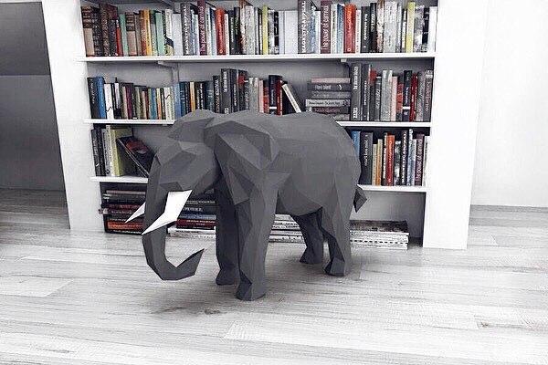 Оригами 3D фигура Большой Слон. Бумажный конструктор. Набор для создания 3D фигур