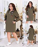 Трикотажное спортивное прямое платье с капюшоном размеры батал 48-58 арт 4075