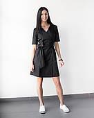 Медицинский женский халат Токио черный на пуговицах