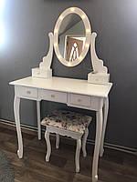 Туалетный Столик косметический с подсветкой и стульчиком Bonro ручная работа Белый