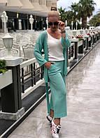 Женский легкий костюм (кардиган с поясом+кюлоты)