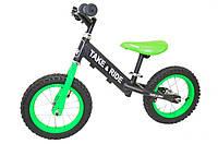 Детский велобег Take&Ride на резиновых надувных колесах RB-50 Classic черно-салатовый.