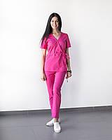 Медицинский костюм Рио розовый, из тонкой ткани, фото 1