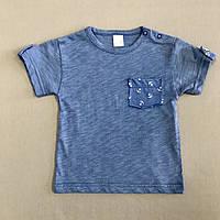 Детская футболка для мальчика р. 68(3-6месяцев) синяя  с кармашком