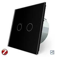 Сенсорный проходной Wi-Fi выключатель Livolo ZigBee 2 канала черный стекло (VL-C702SZ-12), фото 1