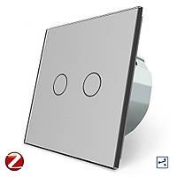 Сенсорный проходной Wi-Fi выключатель Livolo ZigBee 2 канала серый стекло (VL-C702SZ-15), фото 1
