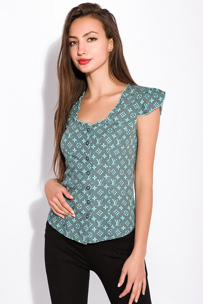 Легкая женская рубашка на пуговицах 118P162 (Серо-голубой)