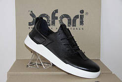 Мужские спортивные туфли-мокасины Safari 90 черные с белой подошвой