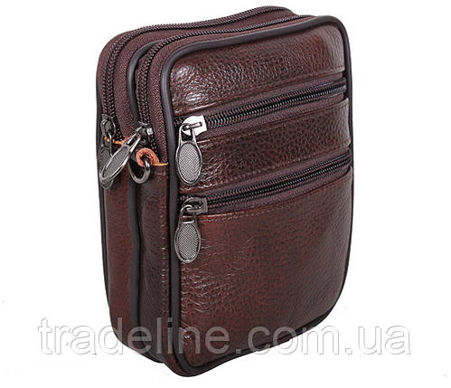 Мужская кожаная сумка Dovhani Bon-995023 Коричневая 11,5 х 15 х 3-5см, фото 2
