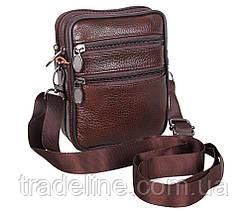 Мужская кожаная сумка Dovhani Bon-995023 Коричневая 11,5 х 15 х 3-5см, фото 3