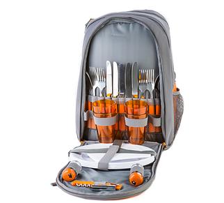 Сумка для пікніка, рюкзак-пікнік GREEN CAMP на 4 персони, обсяг 27 л, колір сіро-помаранчевий