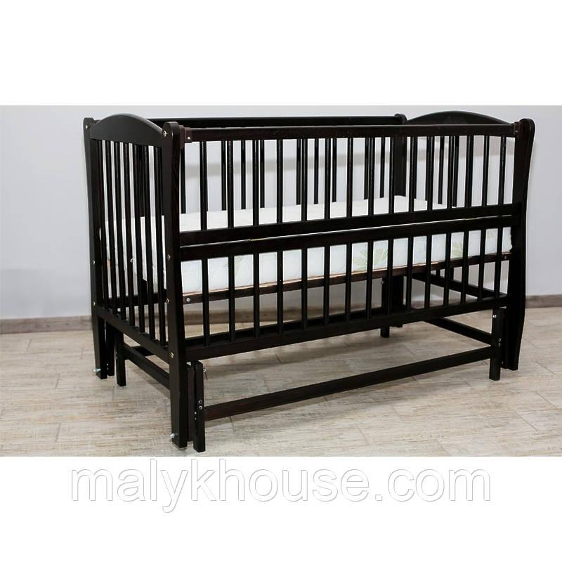 Дитяче ліжко Дубок Еліт без ящика (маятник, відкидний бік, колір венге)