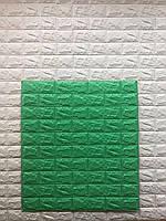 Самоклеючі шпалери Декоративна 3D панель ПВХ 1 шт, зелений цегла (м'ята)